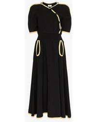 Maryam Nassir Zadeh - V-neck Buttoned Wool Blend Dress - Lyst
