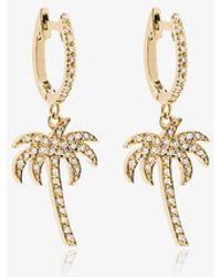 Ileana Makri 18k Yellow Gold Palm Tree Hoops With White Diamonds - Metallic