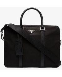 Prada Black Classic Logo Plaque Briefcase