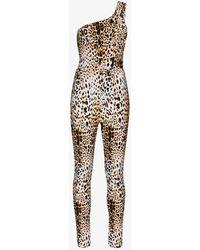 Halpern Leopard Print One Shoulder Jumpsuit - Multicolour
