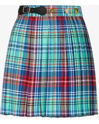 Charles Jeffrey LOVERBOY Tartan Pleated Kilt Mini Skirt - Blue