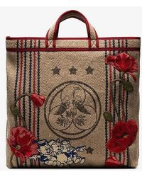 b892218ce08 Gucci - Beige Floral Embroidered Pig Patch Jute Tote Bag - Lyst