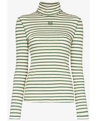 Loewe Green Striped Roll Neck Top