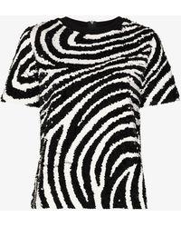 Ashish Zebra Sequinned T-shirt - Black