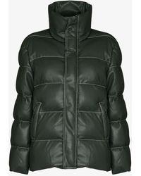 STAUD Ace Vegan Leather Puffer Jacket - Green