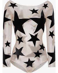Alexia Hentsch Silk Star Print Appliqué Bodysuit - Multicolour