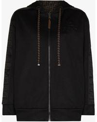 Fendi Ff-motif Reversible Zip Hoodie - Black