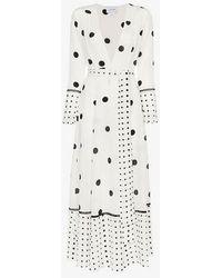 We Are Leone - Polka Dot Print Silk Maxi Robe - Lyst