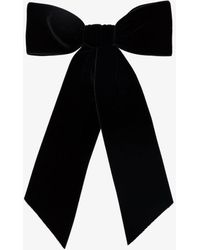 Jennifer Behr Wide Velvet Bow Barrette Black