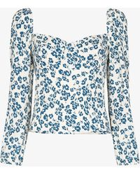 Reformation Reign Floral Print Top - White