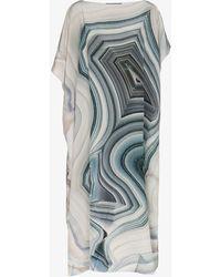 Kimberly Mcdonald - Off-shoulder Cool Tones Print Silk Kaftan Dress - Lyst
