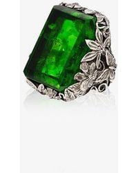 Lyly Erlandsson Sterling Orsay Crystal Ring - Metallic