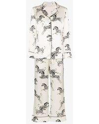 Olivia Von Halle Lila Zebra Print Two-piece Pyjama Set - White