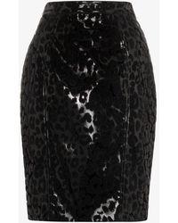 Mugler Leopard Appliqué Skirt - Black