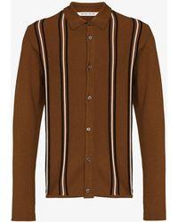 WOOD WOOD Chester Striped Merino Wool Cardigan - Brown