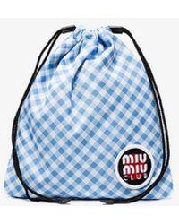 Miu Miu Blue Club Patch Gingham Pouch