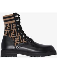 Fendi Mania Logo Combat Boots - Black