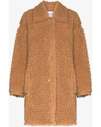 Stand Studio Jacey Faux Shearling Teddy Coat - Brown