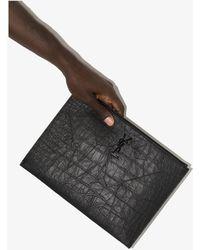 Saint Laurent Mock Croc Leather Pouch Bag - Black