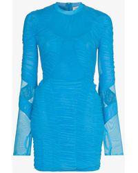 Marine Serre Hydrodynamic Ruched Mini Dress - Blue