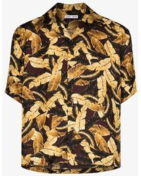 Cmmn Swdn Kim Leaf Print Silk Bowling Shirt - Brown