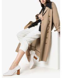Rejina Pyo White Edie 80 Wooden Heel Court Shoes
