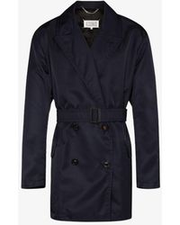 Maison Margiela Belted Double-breasted Trench Coat - Blue