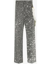 Song For The Mute Paint Splatter Tailored Trousers - Grey