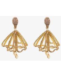 Oscar de la Renta Crystal Chandelier Clip-on Earrings - Metallic