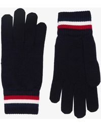 Moncler Navy Logo Patch Wool Gloves - Blue