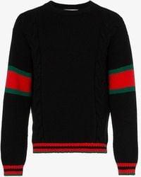 Gucci Cable Knit Web Jumper - Black