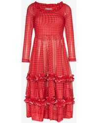 Molly Goddard Kelly Gingham Mesh Dress - Red