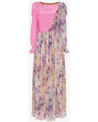 Ronald Van Der Kemp Polka-dot Floral Patchwork Silk Gown - Pink