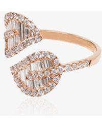 Anita Ko 18kt Rose Gold Diamond Palm Leaf Ring - Multicolor