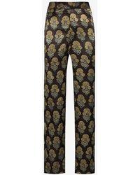 Bode Silk Jacquard Trousers - Brown