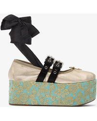 Miu Miu - 75 Jacquard Platform Shoes - Lyst