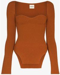 Khaite Maddy Sweetheart Knitted Top - Orange