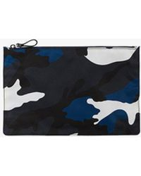 Valentino Camouflage Print Pouch - Blue