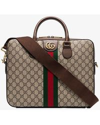 Gucci Brown GG Supreme Monogram Briefcase - Multicolor