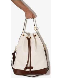 Tom Ford White And Brown Drawstring Bucket Bag