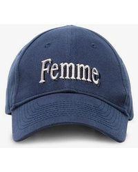 Balenciaga - Blue Femme Embroidered Cotton Cap - Lyst