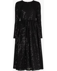 Ashish Sequinned Midi Dress - Black
