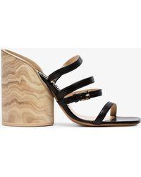 Jacquemus 105 Leather Block Heel Sandals - Black