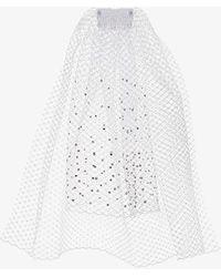 Gigi Burris Millinery Crystal-embellished Veil Hair Clip - White