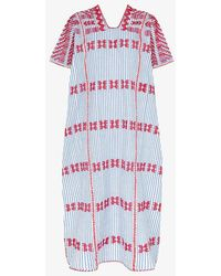 Pippa Holt No.169 Striped Embroidered Cotton Kaftan - Blue
