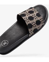 Balmain Black Monogram Jacquard Leather Slides