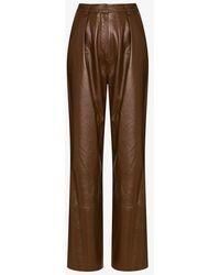 Michael Lo Sordo Wide Leg Leather Trousers - Brown