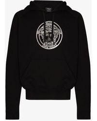 Versace Logo Print Cotton Hoodie - Black