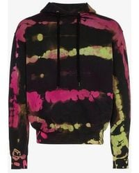 Stain Shade Pink And Green Tie Dye Cotton Hoodie - Multicolour