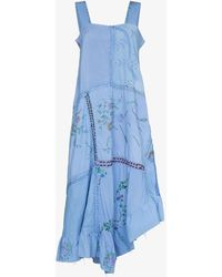 By Walid Maggy Linen Patchwork Dress - Blue